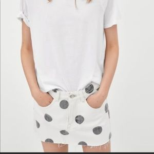 Zara White Frayed Gray Polka Mini Skirt NWT